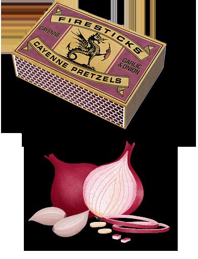 Garlic and Onion Cayenne Pretzles